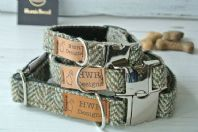 Brown/olive Harris Tweed Dog Collar